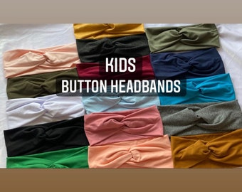 Kids button headbands, headbands with buttons for school, headbands for masks, childrens solid colored button headbands