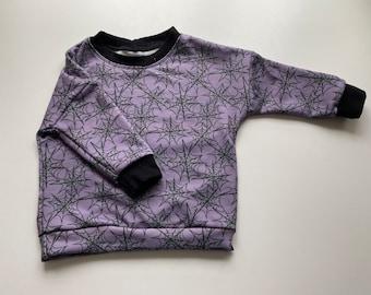 Halloween sweatshirt, purple spider web dolman, spider web crew neck, Halloween sweatshirt for boys or girls