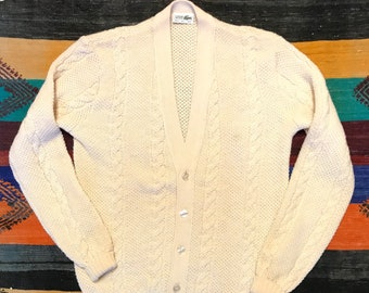 60c2ff6e4cffd Vintage 80 s Izod Lacoste Cable Knit Cardigan   Chemise Lacoste   Off White  Wool Cardigan   Women s Sz 18