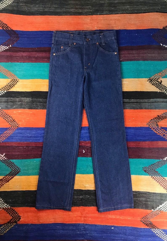 Vintage 70/'s Plain Pockets Jeans  Dark Wash Denim  Boot Cut Jeans  Size 28
