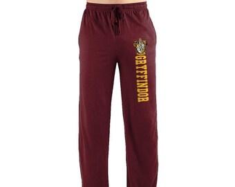 90d65b0c42f0 Harry Potter Gryffindor House Crest Print Men s Sleep Lounge Pants Books  Hit Movies Hogwarts Pajama Bottoms Burgundy