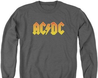 AC DC Logo Adult Crewneck Sweatshirt Unisex Rock Band Group Music Fandom  Men Women Charcoal 64590a1262f5