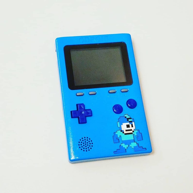 1 (Sold) Custom Painted Odroid Go - Mega Man - Game Boy Clone Emulator -  Bomber Blue with SD Card included