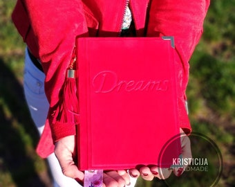 Red suede daily diary 2020 A6 with word Dream and tassel. Handmade leather journal, notebook - gift for birthday, Fathers day Preorder