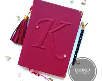 Monogrammed leather notebook, journal. Personalized planner, notepad, diary A5 custom letter, colour & sheets. Great Womans gift. Preorder