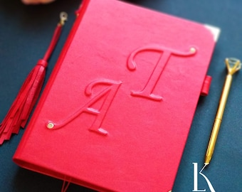 Monogrammed leather journal with tassel. Custom notebook, Personalized planner Dairy A5 2021 Custom 2 middle letters on cover Christmas gift