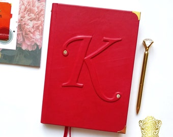 Monogrammed leather journal Custom leather notebook Big letter Personalized planner notepad diary A5 custom colour & sheets Woman's gift