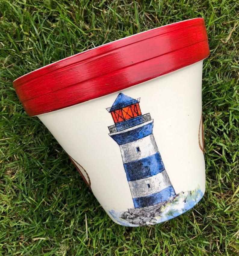 Lighthouse nautical plant pot, decoupaged seaside garden planter, birthday on clay pot lighthouse, diy flower pot lighthouse, plant container lighthouse, cat pot lighthouse,