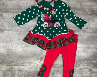 Christmas gifts truck appliqué top and pants set