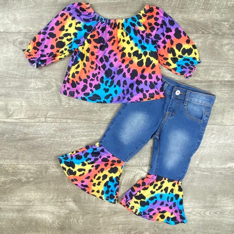 Girls Leopard Tie Dye Top and Bell bottom Jeans