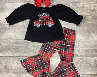 Brand new girls boutique Christmas Plaid Outfit