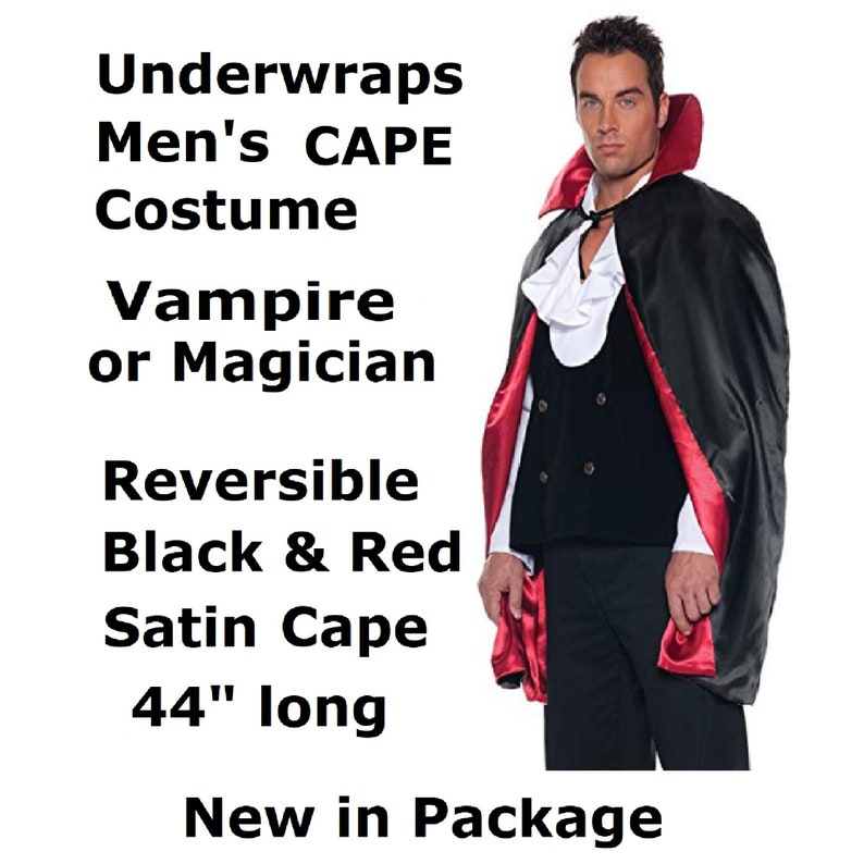 Midnight Vampiress by InCharacter M 8-10 Adult Costumes Men/'s Vampire Cape 44 Reversible Black /& Red FAST Free Shipping for Halloween!