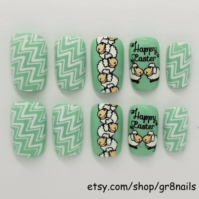 Easter Press on Nails Pre-Designed Glue on Nail Tips   Etsy