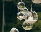 18 pcs Hanging Glass Orbs Hanging Glass Globe Terrariums TeaLight Holder Glass Orbs LED Tea Light Party Decor Wedding Decor