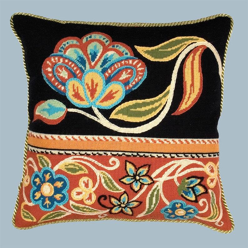 Glorafilia Tapestry Kit Premium Tapestry Kit Cushion Front Needlepoint Kit Persian Flowers