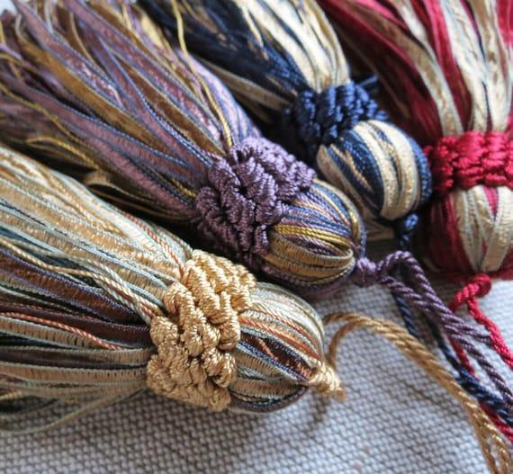 Pompons de soyeux luxe - grand ruban soyeux de coupe pompons - glands de clé - coussin passementerie - 120mm - 4 couleurs magnifiques ff57fd