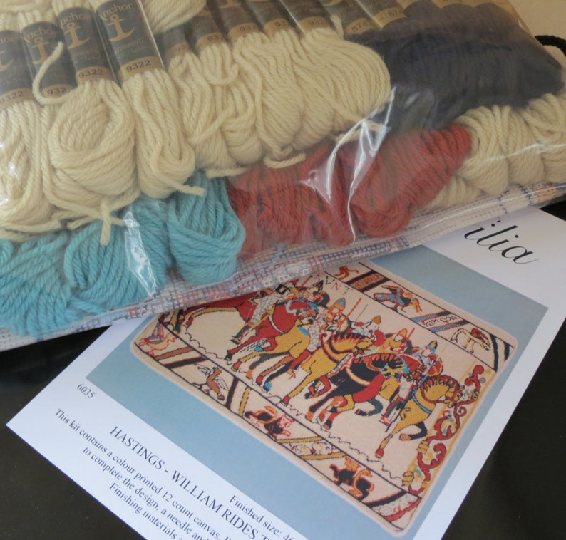 William Rides to War Tapestry Needlepoint Kit \u2013 Bayeux Tapestry Battle of Hastings Premium Tapestry Kit Cushion Front Glorafilia
