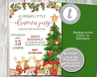 Kids Christmas Party Invitations Etsy