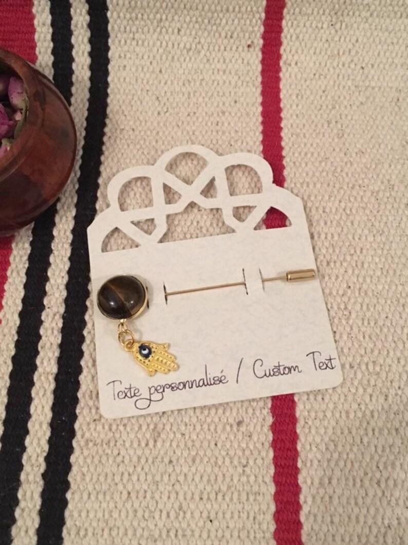 PIN brooch hijab Golden pine Hamsa eye blue cabochon Tiger eye gift Islam witness gift woman