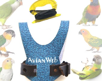 EZ Bird Harness with 6 ft Leash - Fits most Conures, Quaker Parrots, Caiques, SMALL Lories. Rosellas, and birds of similar size