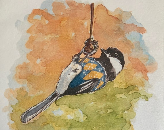 Print - Chickadee in a sweater vest