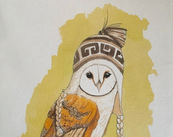 Print - Barn Owl with chullo