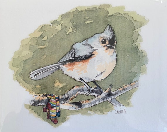 "8"" x 10"" Tufted Titmouse Bird Print"