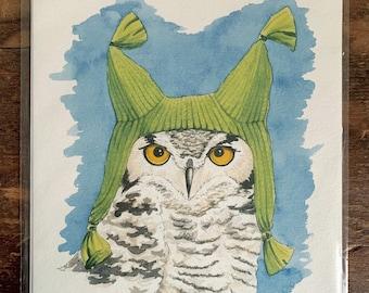 "8"" x 10"" Great Horned Owl Bird Print"