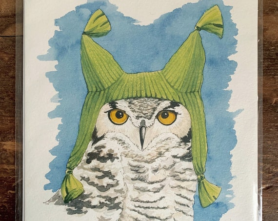 "8"" x 10"" Great Horned Owl Bird Print"