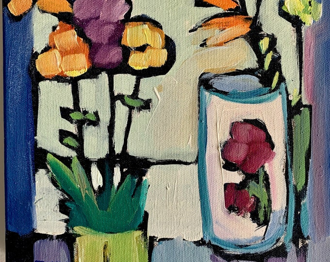 "8""x8"" Original Oil Painting - Still Life with Flowers"