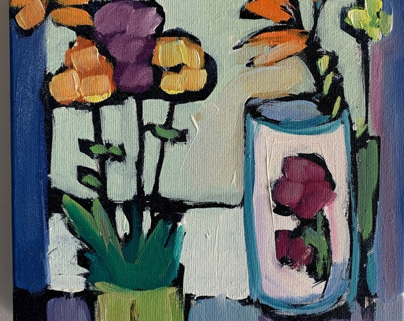 Original Still Life Painting with Flowers
