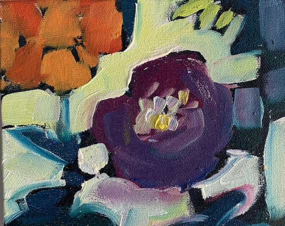 "6""x6"" Original Oil Painting - Still Life with Flowers"