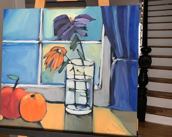"""16""""x18"""" Original Oil Painting - Still Life with Flowers"""