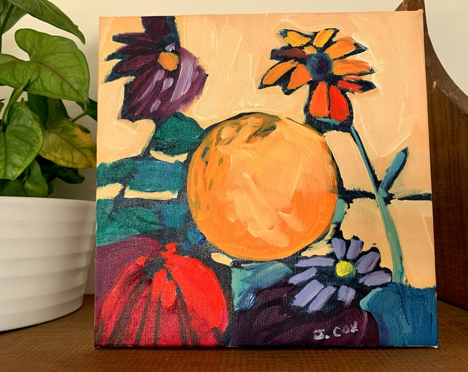 "8""x8"" Original Oil Painting - Still Life with Flowers and Fruits"