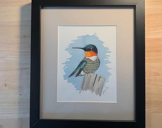 Original Watercolour Bird Painting - Birds of a Sweater