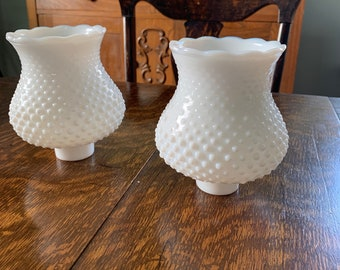 Vintage Hobnail Lamp Shades (pair)