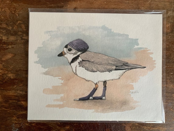 Print - Piping Plover with slouch hat and socks