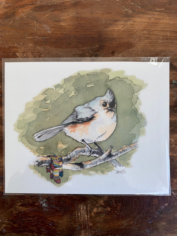 Print - Tufted Titmouse with socks