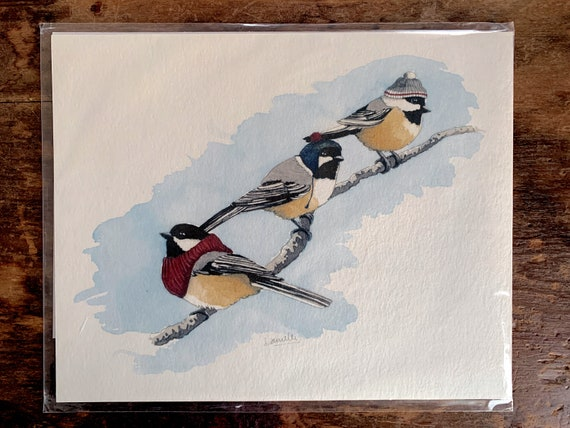 Print - Three Chickadees