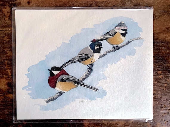 "8"" x 10"" Chickadee Bird Print"