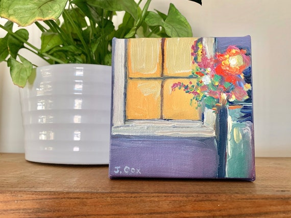 "4""x4"" Original Oil Painting - Still Life with Flowers"