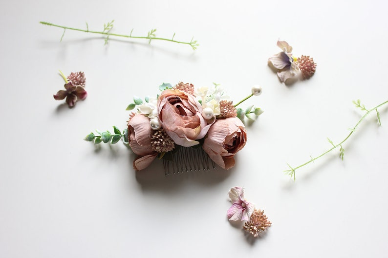 Pink Floral Hair Pin Floral Hair Comb for Wedding Pink Floral Comb Bridal Hair Comb Bridesmaid Flower Girl Mini Hair Comb