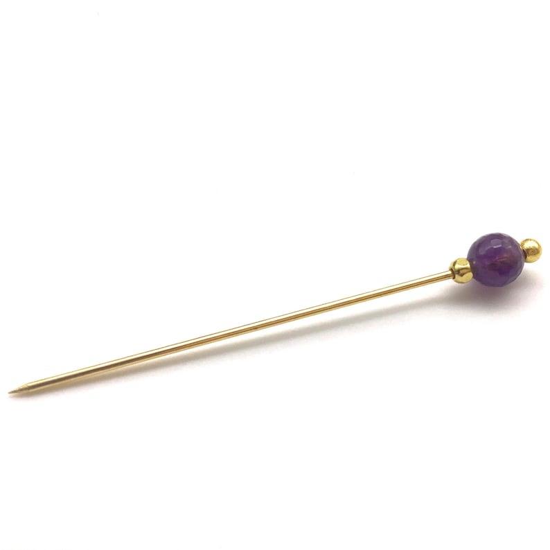 Semi precious Amethyst Stone Hijab Pin.