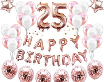 25th Birthday Decorations Party Supplies 38 Pack Rose Golden Happy Balloon Banner Confetti Balloons For Her