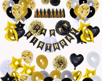 Black And Gold Party Decorations90Pcs Happy Birthday Banner Star Heart Foil Balloons Decorations