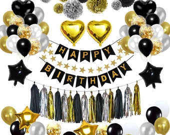 99 Pcs Birthday Decorations Party Decoration Kit Confetti Balloons With Pom For 16th 18th 21st 30th 40th 50th 60th 70th