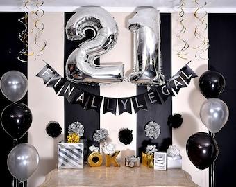 21st Birthday Decorations For Him Etsy21st Party Pack U2013 Black U0026 Silver Happy
