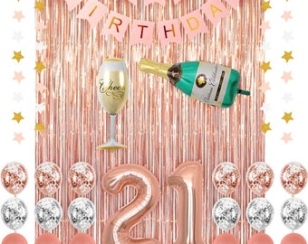 Rose Gold 21 Birthday Party Decoration Supplies Champagne Balloon Happy Banner BalloonsFoil Fringe CurtainsConfetti Balloons