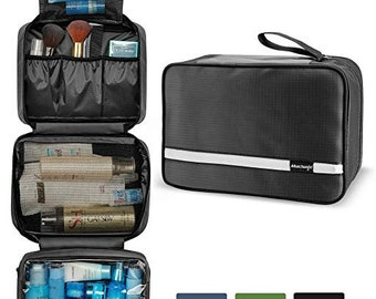 Mens Travel Toiletry Bag, Hanging Toiletry Bag   Foldable Bathroom Kit with  6.8L Capacity for Men Women   Travel Bathroom Organizer (Black) 6c9ce54c94