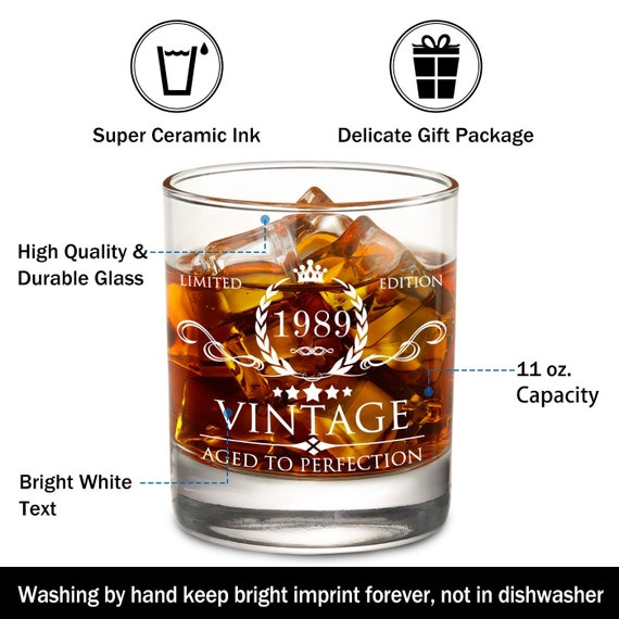 11 oz Whisky Bourbon Glasses Party Supplies Decorations 1989 30th Birthday Gifts for Women and Men Whiskey Glass Anniversary Gift Ideas Him Her Dad Mom Husband Wife Funny Vintage 30 Year Old